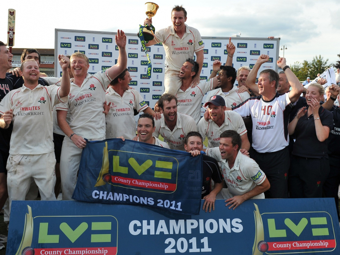 Cricket - LV County Championship - Somerset vs. LancashireThe Lancashire team celebrate with the Championship trophy at the County Ground, Taunton